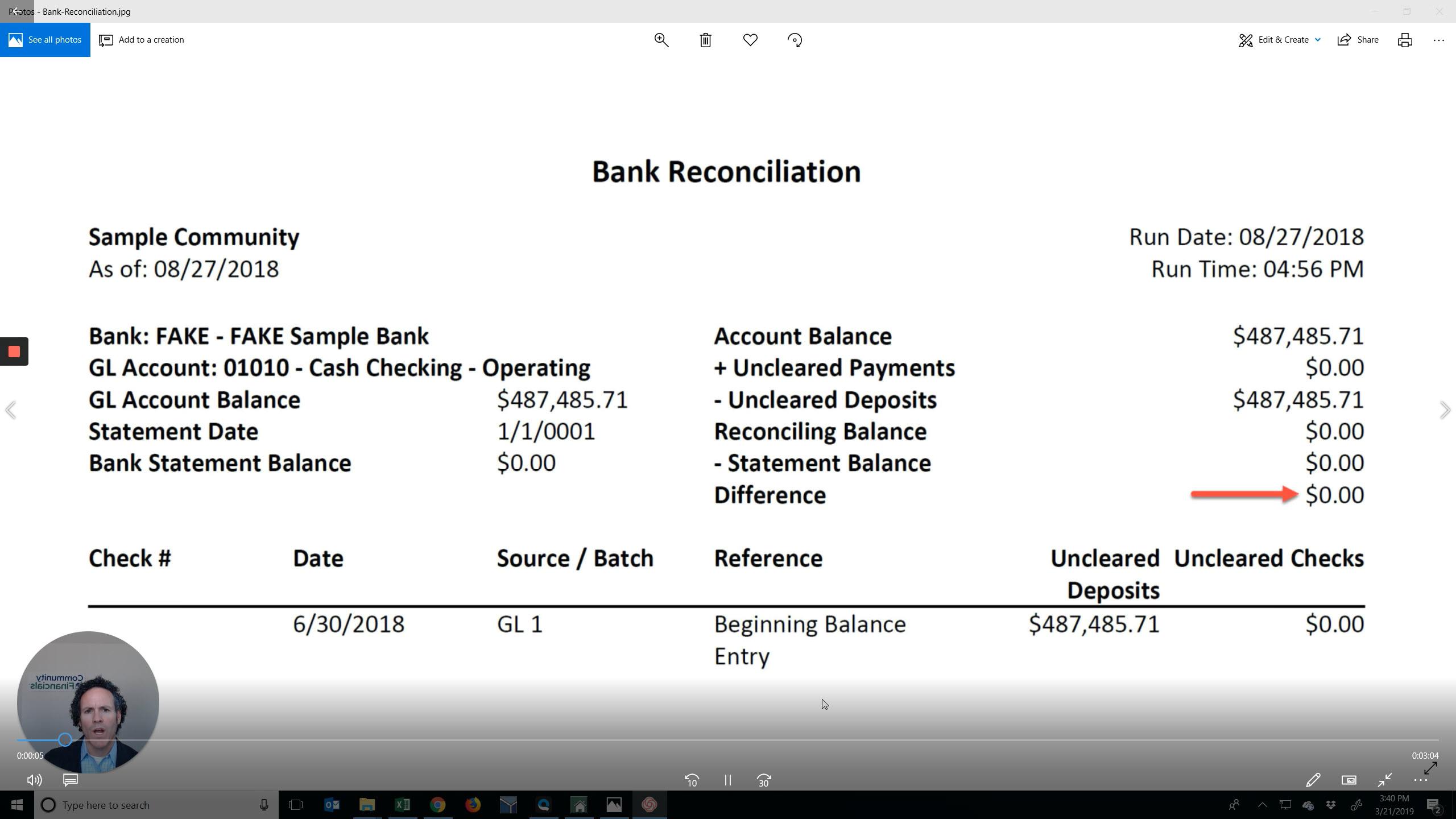 Bank Reconciliation Video Thumbnail